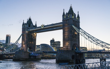 Tower Bridge London over River Thames in the evening Stock Photo