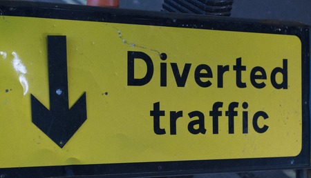 Diverted traffic sign Stock Photo