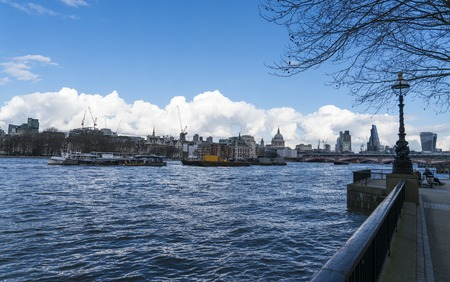 The Queens Walk at Southbank of River Thames London