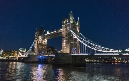 Tower Bridge London over River Thames - beautiful night view Stock Photo