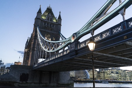 river thames: Tower Bridge London over River Thames in the evening Stock Photo