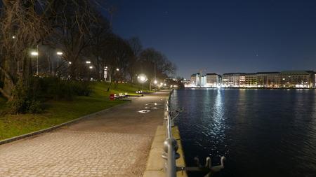timelapse: The banks of Alster River in Hamburg