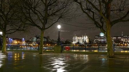 London Southbank at night on a rainy day