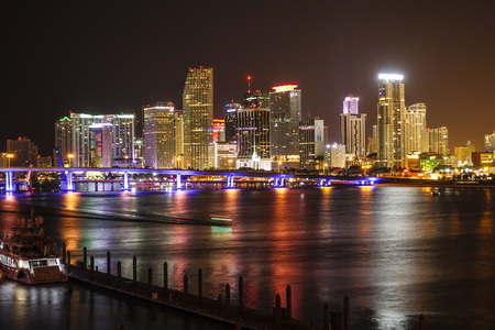 Colorful Miami skyline by night Stok Fotoğraf