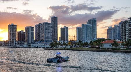 sawgrass: Skyline Miami Downtown at sunset Editorial