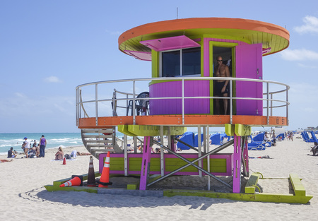 sawgrass: Lifeguard Tower at M;iami Beach - Rescue tower Editorial