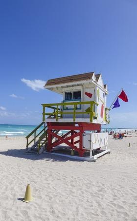 sawgrass: Lifeguard Tower at M;iami Beach - Rescue tower Stock Photo