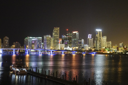 sawgrass: The Skyline of Miami Downtown at night Editorial