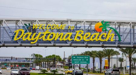 april 15: Welcome to Daytona Beach sign on International Speedway Blvd- DAYTONA, FLORIDA - APRIL 15, 2016 Editorial