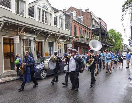 french quarter: Parade of Street musicians in New Orleans French Quarter Editorial