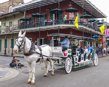 french quarter: Horse-drawn cab at French Quarter New Orleans Editorial