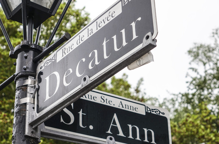 quarter: Famous Decatur Street in New Orleans French Quarter Stock Photo