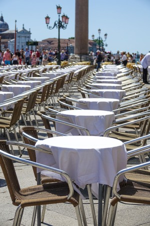 st marks square: Beautiful and expensive street cafe at St Marks square in Venice San Marco Stock Photo