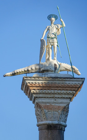 famous statues: Famous statues at St Mark s square - San Marco Venice Stock Photo