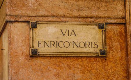 diplomats: Old street sign in Verona Italy - Via Enrico Noris Stock Photo