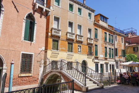 historic district: Typical street scene in the historic district of Venice Editorial