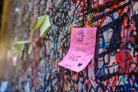 juliets: Love letters on the wall at Juliets house in Verona - Romeo and Juliet Editorial