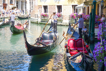 Famous Gondola service in the canals of Venice