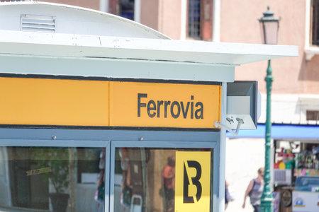 waterbus: ACTV Waterbus stop Ferrovia Railway station Venice Editorial