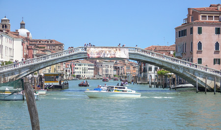 grand canal: Big pedestrian bridge over Grand Canal in Venice Editorial