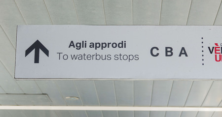 waterbus: Direction sign to Waterbus stops in Venice