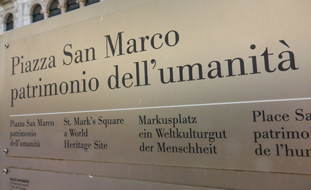 st  mark's square: Sign Piazza San Marco - St Marks Square in Venice Editorial