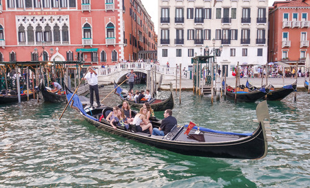 grand canal: Romantic gondolas in the Grand Canal of Venice