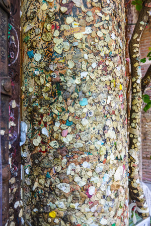 juliets: Couples in Love attached chewing gums and letters to the wall of Juliets house in Verona - Romeo and Juliet