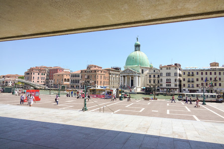 grand canal: View over Grand Canal from railway station Venice