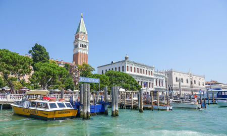 doge: Venice San Marco pier with Campanile and Doge Palace Editorial