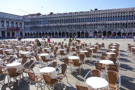 st marks square: The expensive and exclusive street cafes in Venice on St Marks Square Editorial