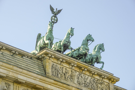 Quadriga statue on famous Brandenburg gate in Berlin - Brandenburger Tor