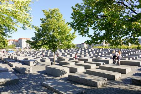 murdered: Mazelike Holocaust Memorial Berlin - Memorial to the murdered Jews of Europe - BERLIN  GERMANY - AUGUST 31, 2016