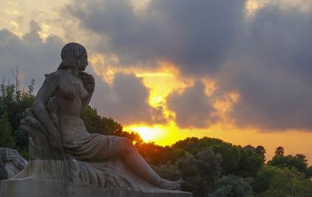 espanya: Beautiful sunset - view from Palau Nacional Stock Photo