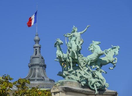 champs elysees: Amazing sculptures on Alexandre III Bridge in Paris - Pont Alexandre III