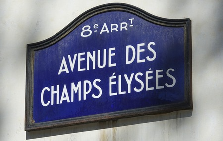 champs elysees: Street sign Avenue des Champs Elysees - most popular boulevard in Paris