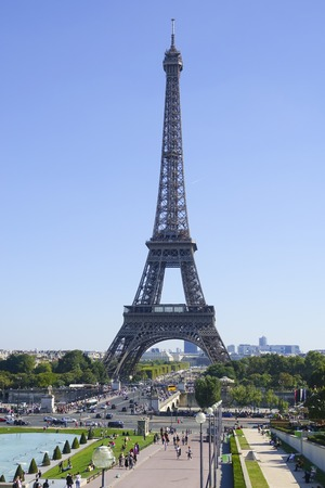 champs elysees: Trocadero Gardens and Eiffel Tower in Paris