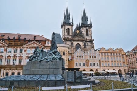 Famous Old Town Square in the city of Prague - PRAGUE  CZECH REPUBLIC - MARCH 20, 2017
