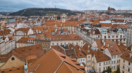 Aerial view over the city of Prague from Old City Hall Tower Stock Photo