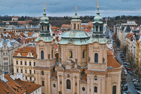 St Nicholas Church at Old Town Square in Prague - St Nikolaus Stock Photo