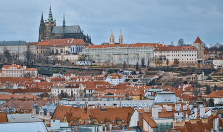 Prague Castle - aerial view from Old Town Square 版權商用圖片