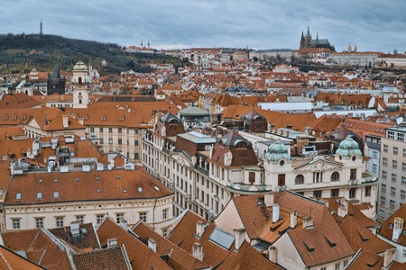 Wide angle view over the city of Prague from Old City Hall Tower