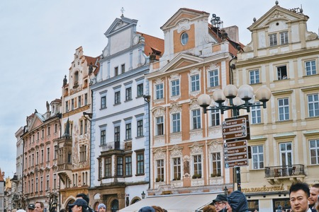 Famous Old Town Square in the historic district of Prague - PRAGUE / CZECH REPUBLIC - MARCH 20, 2017