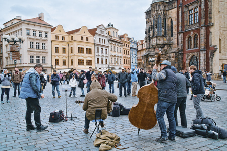 Street musicians at Old Town Square in Prague - PRAGUE / CZECH REPUBLIC - MARCH 20, 2017