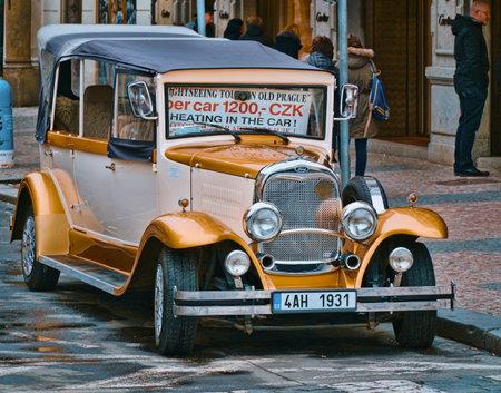 Oldtimer cars in Prague - a tourist attraction - PRAGUE / CZECH REPUBLIC - MARCH 20, 2017