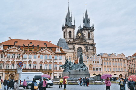 The Old Town Square in the heart of Prague - PRAGUE / CZECH REPUBLIC - MARCH 20, 2017