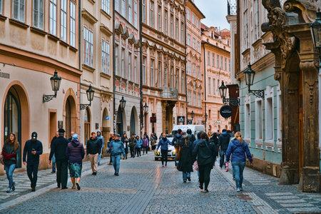 Beautiful pedestrian Zone in the historic district of Prague - PRAGUE / CZECH REPUBLIC - MARCH 20, 2017
