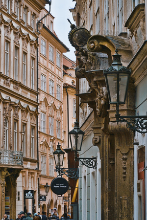 Beautiful buildings in the historic district of Prague - PRAGUE  CZECH REPUBLIC - MARCH 20, 2017
