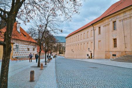 Beautiful buildings around Prague Castle on the hill - PRAGUE  CZECH REPUBLIC - MARCH 20, 2017