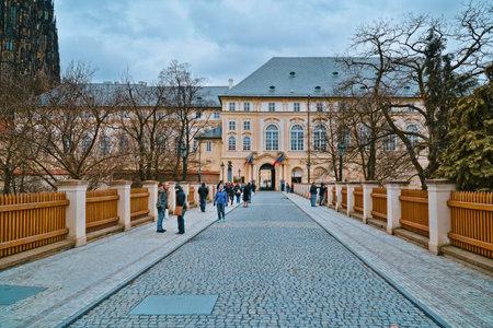 The Entrance to Prague Castle - home of the Czech Government - PRAGUE  CZECH REPUBLIC - MARCH 20, 2017 Editorial